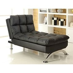 """Features: Finish: Black Materials: Metal, Foam, Faux Leather Extra plush cushions; incredibly comfortable Smooth black finish; easy to coordinate Smooth and easy to use reclining mechanism Can be used as a footrest or as a chair Specifications: Overall Product Dimensions: 35"""" H x 59"""" W... more details available at https://furniture.bestselleroutlets.com/living-room-furniture/chaise-lounges/product-review-for-furniture-of-america-preston-tufted-leather-chaise-lounge-"""