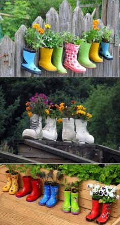 DIY Rain Boots Garden On A Fence...I did this with old gardening gloves and it was interesting and it worked for growing plants.
