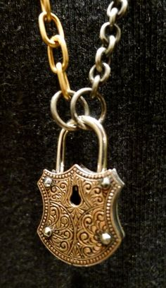 Michael Barin Sterling Silver and 14K Rose Gold Engraved Lock Pendant