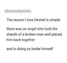 I've never liked the idea of a romantic Destiel. I actually HATE it. But this perfectly describes how I feel about their relationship. Obviously not romantic but a strong brotherly bond.