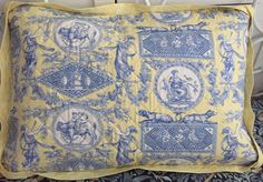 Laura Ashley Spring Toile pillow sham quilted Blue And White Bedding, Pillow Shams, Pillows, Laura Ashley, Vintage World Maps, Spring, Toile, Pillowcases, Pillow Protectors