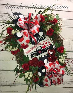 """Valentines Day Heart Red Roses Bouquet Tinsel Pick 14/"""" Wreath Swag FLORAL Gift"""