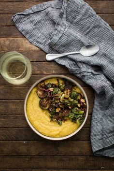 Balsamic Roasted Brussels Sprouts with Polenta: Put a pot of polenta on the stove while Brussels sprouts roast in the oven for a simple fall meal. Click through to discover quick and easy polenta recipes to make for dinner. Easy Polenta Recipe, Polenta Recipes, Healthy Holiday Recipes, Vegetarian Recipes, Cooking Recipes, Vegetarian Iron, Winter Recipes, How To Cook Polenta, White Bean Soup