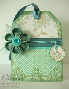 Tag shaped card by cbuswell - Cards and Paper Crafts at Splitcoaststampers Ribbon Crafts, Flower Crafts, Paper Crafts, Fabric Bouquet, Fabric Flowers, Japanese Flowers, Japanese Fabric, Shibori, Cool Fonts