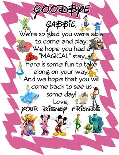 "A ""goodbye"" letter from the Disney characters! Leave it for your child with a parting gift for the road trip home! Adds a special touch!"