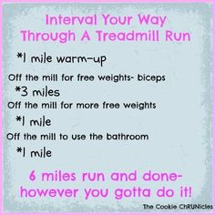 Treadmill Intervals plus links and tips/ The Cookie ChRUNicles