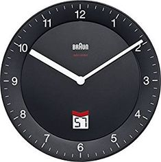 Braun Black-DCF Radio Controlled Wall Clock, Plastik, 20 x x 20 cm Bauhaus, Radios, Matt And Blue, Blue Clocks, Display Lcd, Stowa, Junghans, Telling Time, Everyday Objects