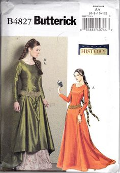 Butterick 4827 Medieval dress Sewing Pattern by patternsandcrafts