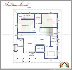 2000 square feet 4 bedroom house plan and elevation. free plan two storied house plan can construct in 5 cent house plot, made by vasthu House Outer Design, Single Floor House Design, Classic House Design, House Design Photos, 20x30 House Plans, Free House Plans, 4 Bedroom House Plans, Kerala Traditional House, Narrow House Plans