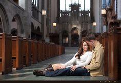 sitting church pews engagement photographs