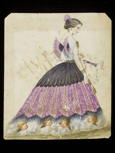 """1860s design for a """"Fan""""-themed fancy-dress costume, probably for the House of Worth. V&A."""