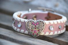 Heart Sparkle Pink Leather Dog Collar with Heart Concho Crystal Rivets White Lace Rustic Bohemian Southwest Boho Western Leather Dog Collar