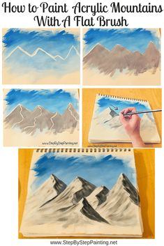 Learn How To Paint Mountains – Step By Step Acrylic Painting Tutorial - Painting Techniques Acrylic Painting Techniques, Painting Lessons, Art Techniques, Diy Painting, Painting & Drawing, Canvas Painting Tutorials, Gouache Painting, Mountain Drawing, Mountain Paintings