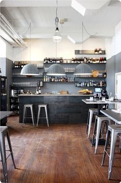 Muuto Under The Bell lamps and Tolix chairs at LEI:K - Kitchen & Bar i Odense, Denmark by Lerche Design