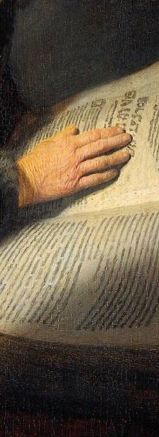 Rembrandt 'The Prophetess Anna' (known as 'Rembrandt's Mother') 1631 Oil on panel. (detail)