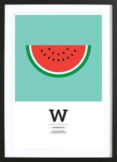 """The Food Alphabet"" - W like Watermelon VON BLAEK Design Studio now on JUNIQE!"