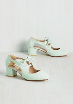 New Orleans Lease on Life Heel in Mint. A flavorful southern foray calls for none other than these lace-up heels! #mint #modcloth