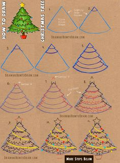 How To Draw A Christmas Tree With Simple Step By Step Tutorial How To Draw Step By Step Drawing Tutorials Christmas Tree Drawing Christmas Tree Drawing Easy Cartoon Christmas Tree