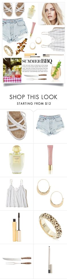 """""""Summer BBQ"""" by linmari ❤ liked on Polyvore featuring George, Creed, AERIN, Burberry, Hollister Co., BP., Stila, Vanzi, Coltellerie Berti and Laura Mercier"""