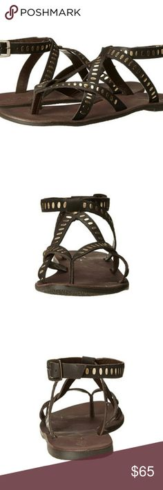 Rebels Sandals 7 Alana sandal! by Rebels                                                                                               Leather upper with hardware detailing.              Adjustable ankle strap with buckle closure.            Thong-style, strappy silhouette.                                Leather lining and footbed.  Man-made sole.                         New With Box. Rebels Shoes Sandals