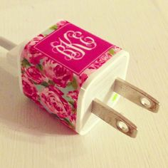 """Between all the iPads and iPhones in our house, there is constant disagreements about who is using who's or worse who """"stole"""" who's and  who DIDN'T steal who's...   You get the idea.  LOL    I may just have to get a few if these!   ;)    Lilly Pulitzer Monogrammed IPhone Charger Sticker by PreppyinPink3, $8.00"""