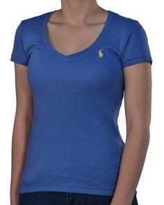 Polo Ralph Lauren Women's Cotton V-Neck Shirt-Blue/Yellow:Amazon:Clothing