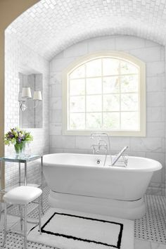 Cool Marble Bathroom with Some Nuances: Traditional White Bathroom Arch Ceiling Small Cool Marble Bathroom Design ~ ruibbs.com Bathroom Designs Inspiration