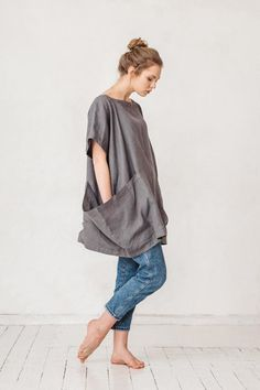 f71a888d19c Oversized dark platinum grey linen tunic