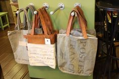 vintage leather & canvas tote bags!