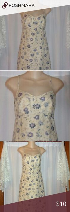 "Gap linen cream print dress sz 6 Bust 36"". Length 39"". 100% linen. Strap has 2 vertical buttons to shorten or lengthen the strap. GAP Dresses"