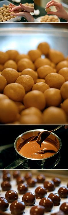 Peanut butter buckeye balls recipe. Combine: 3 lbs. powdered sugar 1 lb. margarine, 4 cups peanut butter in a large bowl...mix with hands until well blended. Chill 1/2 hr. Roll dough into balls and chill them. In double boiler melt: 3 packages chocolate chips and ⅓ cake paraffin wax ~ until they melt. Then dip the balls into melted choc. cool on wax paper. Store them in the fridge