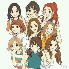 twice kawaii fanart Drawings Of Friends, Kpop Drawings, Cute Drawings, Kpop Fanart, Fan Art, Chibi, Kpop Anime, Character Art, Character Design