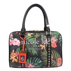 TROPICAL FLOWERS PRINT BOSTON BAG - NICOLE LEE