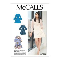 Misses' Dresses - Choose Your Sleeve & Dress Length - McCall's Easy Sewing Pattern Easy Sewing Patterns, Mccalls Sewing Patterns, Simplicity Sewing Patterns, Vintage Sewing Patterns, Clothing Patterns, Fabric Patterns, Modern Patterns, Skirt Patterns, Pattern Sewing