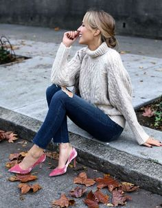from @ maryorton on instagram: blush pink velvet pumps, ripped skinny jeans, chunky cableknit turtleneck sweater