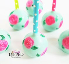 Lilly Pulitzer Teal and Pink Watercolor Cake Pops Wedding Cake Pops, Wedding Cakes, Lilly Pulitzer, Watercolor Cake, Teal And Pink, Chocolate Dipped, Creative Cakes, Confectionery, Custom Cakes