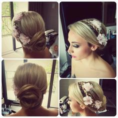 Bridal updo, low chignon with side braid