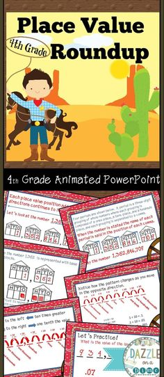 This Place Value PowerPoint for 4th Grade Math will help construct the understanding of place value to the hundredths place.   Concepts include:   * Place Value to the hundredths place * Decomposing Numbers  * Using number lines and open number lines  * Using multiple representations such as Place Value Disks and Base Ten Blocks  * Decimals  * Word Problems  * Comparing Numbers - Comparing Decimals