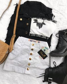 Ideas For Music Festival Outfit Fall Girls Fashion Clothes, Teen Fashion Outfits, Edgy Outfits, Swag Outfits, Retro Outfits, Cute Casual Outfits, Outfits For Teens, Look Fashion, Fall Outfits