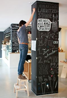 Creative Interior Decorating Ideas, 26 Black Chalkboard Paint Projects,Chalkboard - Home Decor Ideas. Did this to the pillar in our kitchen- so cool! Raise Your Space With New Kitchen Decoration Your kitchen might be an o. Chalkboard Paint Projects, Black Chalkboard Paint, Chalkboard Walls, Chalkboard Decor, Chalkboard Wall Kitchen, Chalkboard Restaurant, Coffee Chalkboard, Blackboard Paint, Chalkboard Drawings