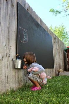 Outdoor Living: Chalkboard Wall in the Yard! Fun Feature for both Young and Old