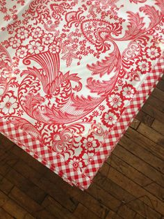 48x84 Oilcloth Tablecloth Toile Red with Red Gingham Trim