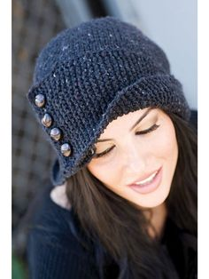 """Simple! This cute hat is knit from crown to brim, with a unique stockinette top and garter stitch bottom. Knit with 175 yards of worsted weight yarn at a gauge of 15 sts per 4"""", using US sizes 7/4.5mm and 8/5mm 24"""" circular needles and US size 8/5mm double pointed needles. Finished size 21 1/2"""" x 11 1/2""""."""