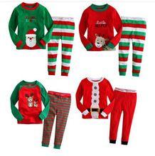 cotton Long sleeves girls boys baby kidschildren clothing sets suits pajama 2 piece 2-7 age sleepwear fashion Father Christmas(China (Mainland))