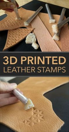 Print your own stamps for leatherworking. Créations en Cuir Print Your Own Leather Stamps Leather Stamps, Leather Art, Sewing Leather, Leather Pattern, Leather Design, Leather Tooling, Leather Jewelry, Leather Store, Custom Leather