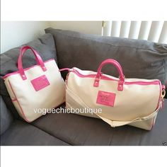 """Victoria's Secret 2 PC Pink Carry On Luggage Set Matching tan canvas bags with hot pink handles and trim. Fully lined. Very solidly made, not flimsy like the newer styles. Features plaques on the front that say:  """"Love VICTORIA'S SECRET The Sexiest on Earth""""  The weekender bag has an adjustable, removable shoulder strap. Approximate measurements Hand bag - 13"""" w x 12.5"""" h x 3.5"""" d Duffle bag - 21.5"""" w x 11"""" h x 9"""" d  The hand bag was never used. The weekender/duffle bag was used once or…"""