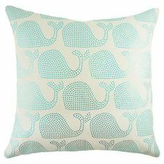 """Bring an eye-catching pop of style to your sofa or favorite reading nook with this handcrafted cotton pillow, featuring a sequined whales motif. Made in the USA.  Product: PillowConstruction Material: Cotton and sequinsColor: Blue and whiteFeatures:  Made in the USAHandmade by TheWatsonShopZipper Enclosure Dimensions: 16"""" x 16"""""""