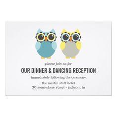 Owl Wedding Reception Blue & Yellow Owl Design Wedding Reception Cards