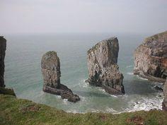 Pembrokeshire Coast National Park - Stacks. Stack Rocks and Pen-y-Holt - 30 miles / 56 mins south, nr Castlemartin