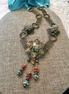 Artisan Jewelry Silk Ribbon Dramatic Necklace Jewelry Gift Czech Glass Necklace Antique Gold Blue Si Filigree Jewelry, Gold Filigree, Jewelry Gifts, Jewelry Necklaces, Glass Necklace, Silk Ribbon, Czech Glass, Handmade Necklaces, Artisan Jewelry